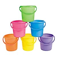 Sand Bucket Assortment (Set of 12 Bright Colors) With Handles