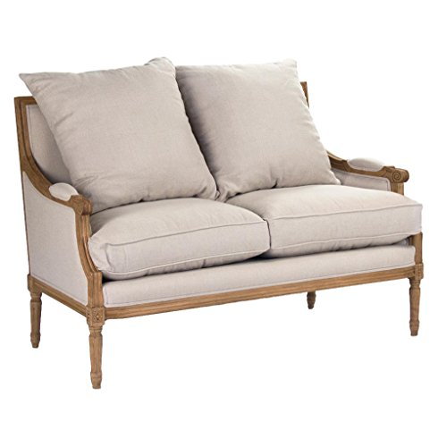 [St. Germain French Country Louis XVI Natural Oak Frame Linen Settee] (Louis Xvi Settee)