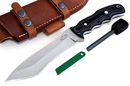 CFK Cutlery Company USA Custom Handmade D2 HYBRID-TANTO Hunting Skinning Tactical Bushcraft Knife with Leather Sheath  Fire Starter Rod Set CFK152