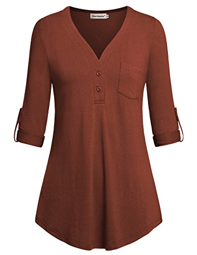 Maternity Shirts for Women,Nandashe Postpartum Moms Cute l 3/4 Cuffed Sleeve V-neckline Pure Color Western Stylish Professional Formal Flow Button Blouse with Pocket for Breastfeeding Nursing Maroon M by Nandashe
