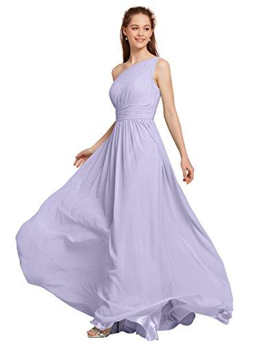 Cummerbund Lilac (AWEI Bridal Chiffon One Shoulder Bridesmaid Dress Maxi Prom Dress for Women, Lilac, US4)