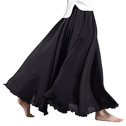 Mujeres Lino Larga Faldas Doble Capa Cintura Elástico Cómodamente Falda Plisada Negro