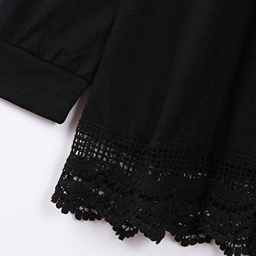 Blue Autumn Front Cardigan Lace Tunic Long Open Sleeve Blouse Kimono Coat Jacket XOWRTE Women Black Outerwear for Pt66qC