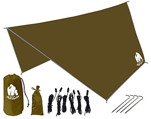 Chill Gorilla Pro Waterproof Tan Tent Tarp, Rain Fly and Hammock Shelter. Hex. [Essential Camping and Survival Gear] DIAMOND RIPSTOP Nylon