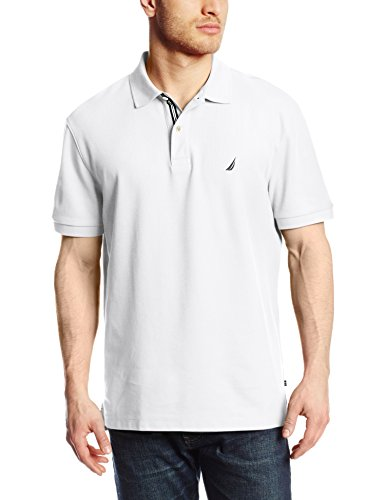 Nautica Men's Short Sleeve Solid Deck Polo Shirt, Bright White, Large