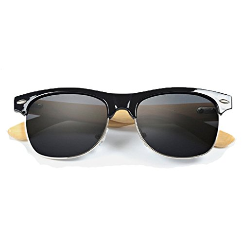 LOMOL Fashion Wooden Frame UV Protection Dazzle Color Lens Wayfarer - Guide Sunglass Lens Colour