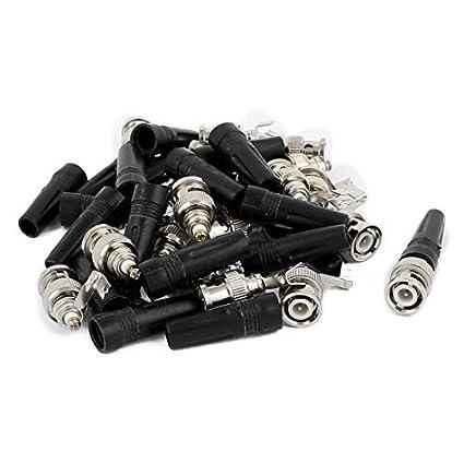 Amazon.com: eDealMax Cola 10Pcs sin soldadura de plástico del Cable coaxial BNC Conector Macho Recta: Electronics
