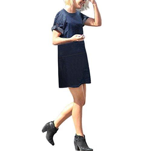 Women Plus Size Denim Shirt Pocket Lady Loose Casual Dress by SanCanSn Promotions(Blue ,3XL)