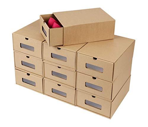 Transparent Shoe Box Drawers Shoe Organizer Stackable Storage Organizer Case Stacking Drawer Transparent Storage Shoes Box 10 pcs ()