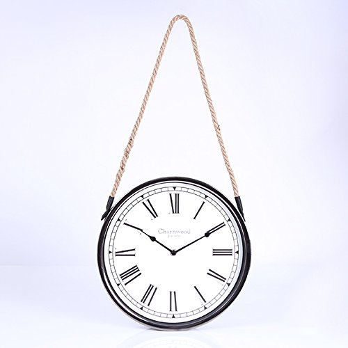 FortuneVin Wall Clock Silent movement Wall Clock Home Office Decor for Living Room Bedroom and Kitchen Clock Wall Creative Silent Sisal Modern Simple Watch Swing In 12-Inch Black Border B