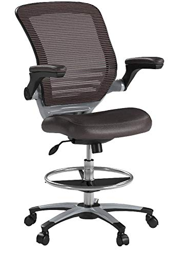 Modway Edge Drafting Chair In Brown - Reception Desk Chair - Tall Office Chair For Adjustable Standing Desks - Flip-Up Arm Drafting Table Chair by Modway (Image #7)
