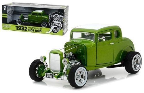 NEW 1:18 GREENLIGHT HOLLYWOOD COLLECTION - Gas Monkey Garage - Green 1932 Custom Ford Hot Rod Diecast Model Car By Greenlight