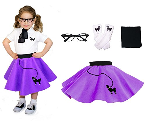 Hip Hop 50s Shop Toddler 4 Piece Poodle Skirt Costume Set Purple (Homemade Costumes For Plus Size Women)