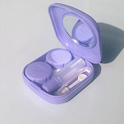 S&M TREADE-Portable Contact Lenses Case Travel Mirror Box Storage Holder Plastic Container (Violet)