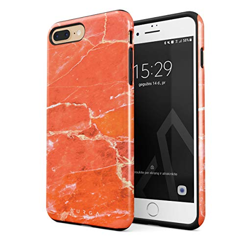 BURGA Phone Case Compatible with iPhone 7 Plus / 8 Plus Neon Ornage Peach Coral Pattern Marble Stone Summer Vibes Heavy Duty Shockproof Dual Layer Hard Shell + Silicone Protective Cover ()