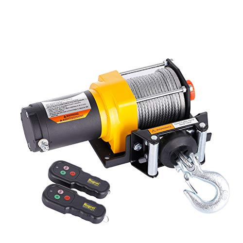 RUGCEL WINCH Waterproof IP68 Offroad 3500 lbs Load Capacity 1.2Hp 12V Electric Winch with Hawse Fairlead,Steel Wire Rope, 2 Wired Handle and 2 Wireless Remote (3500LB)