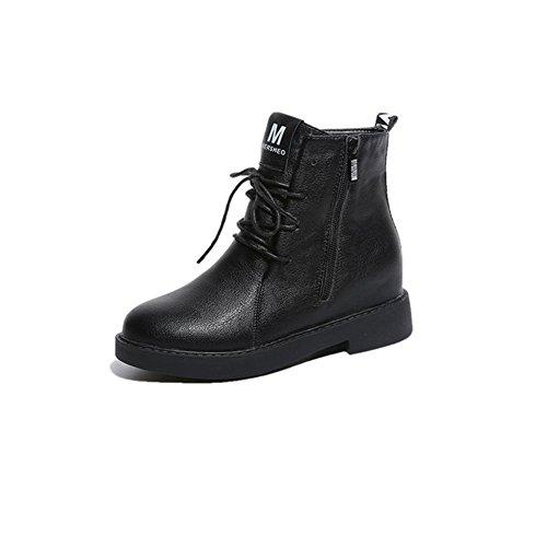 AIURBAG Mujer Zapatos PU Otoño Invierno Botas de Moda Botas hasta el Tobillo Botas Tacón Bajo Dedo redondo Botines/Hasta el Tobillo Con Cordón black