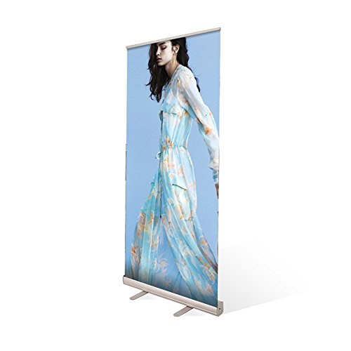 Display Factory USA DFU Retractable Roll up Banner Stand Includes Bag Aluminum Silver Exhibition Display Trade Show Sign Holder (2480'') by Display Factory USA