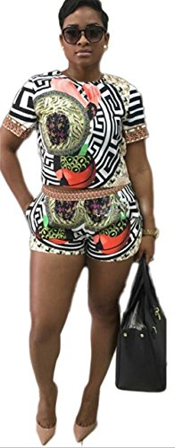 Mojessy Women's Short Sleeve Print 2 Pieces Outfit Crop Top+Shorts Set Rompers XXX-Large Floral