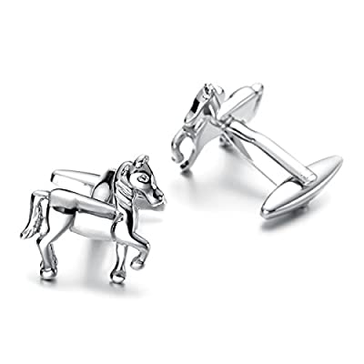 Sirius Jewelry Men's Gift for Wedding Tuxedo Shirt Animal Theme Cufflinks (Horse)
