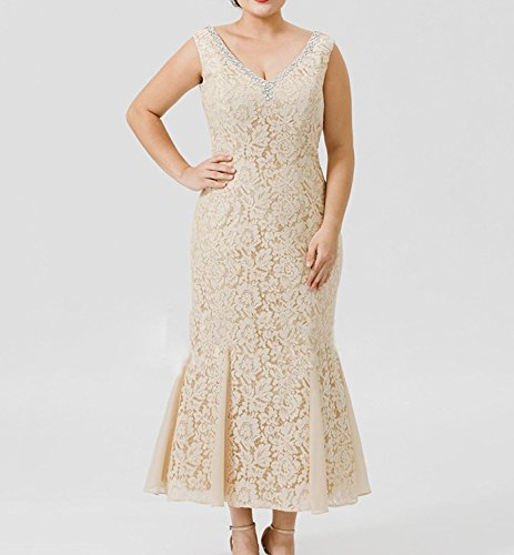 2 Pieces Women\'s Champagne Lace Mother of The Bride Dresses with Jackets  Plus Size