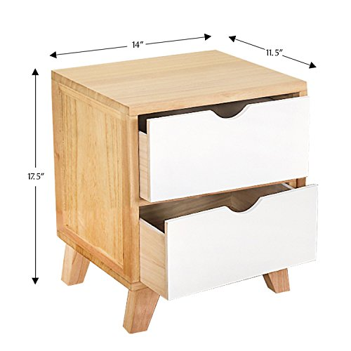 Yellow Natural Wood - Jerry & Maggie - Nightstand - 2 Tier Curving Pattern Sides Night Stand Storage Bedside Table with 2 Drawer Real Natural Paulownia Wood (2 Tier | Cubric Style)