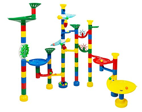 Marble Run Maze Ball Game - 85 Piece Marble Maze STEM Educational Toys for Kids Set Includes 50 Marbles (For Plastic Marbles Games)