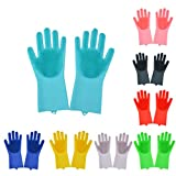 Magic Saksak Silicone Cleaning Gloves Dishwashing Scrubber - Reusable Dish Wash Scrubbing Sponge Gloves with Bristles,Great for Washing Dish,Kitchen,Car,Bathroom and More (Light Blue)