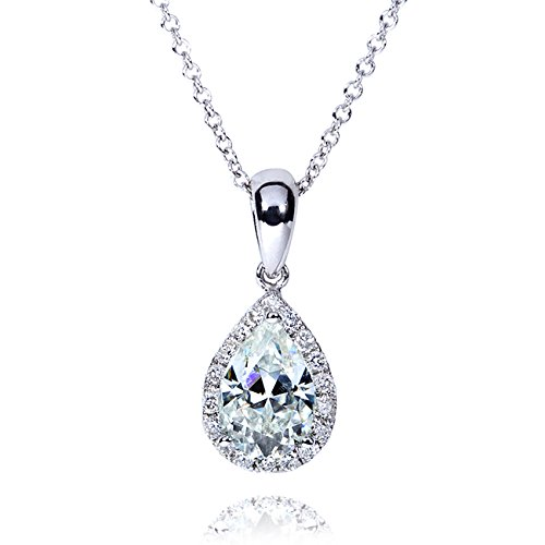 Pear-Shape Moissanite (8mm x 5mm) & Diamond Necklace in 14K Gold, White Gold