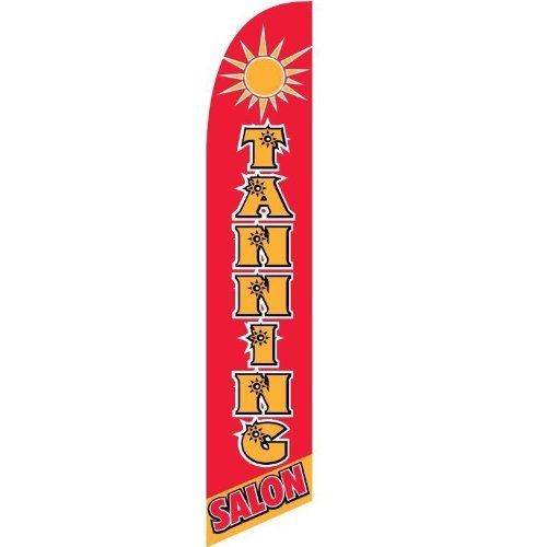 Windless Full Sleeve Swooper Flag TANNING SALON Red Orange Sun Graphic