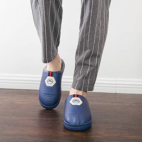 colore Antiscivolo 38 amp;pan Donna Pink Uomo E Blu Cotone Inverno Eur Pantofole Pelle Per Pu Pan Con Autunno Fondo Spesso Calde 39 Dimensioni In aTxFdXw1