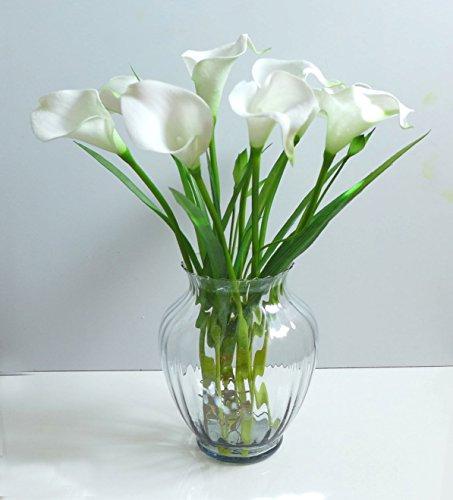 Calla Lily Garden Glass - Artificial Flowers 9 calla lily + Orchid Grass Wedding Home Garden Plants Decor Decorative Flowers Artificial Arrangement