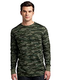 District Threads Men's Long Sleeve Ring Spun Thermal T-Shirt_Army Camo_X-Large