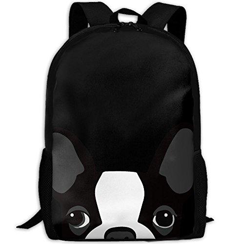 - Funny Boston Terrier Interest Print Custom Unique Casual Backpack School Bag Travel Daypack Gift