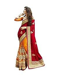 Mahavirfashion Indian Women Designer Party wear Deep red Saree Sari