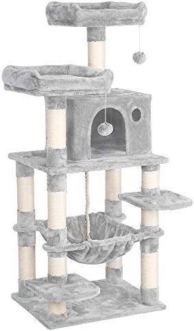 YAHEETECH 57.5 inches Luxurious Cat Tree Cat Tower with Cat Scraching Posts, Large Play House Climber Activity Center with Condo Tunnel and Anti-Dump Device for Kitten, Cat, Pet