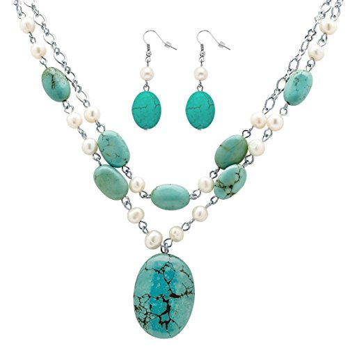 Palm Beach Jewelry Silver Tone Earrings and Necklace, Cultured Freshwater Pearl and Genuine Turquoise, 17