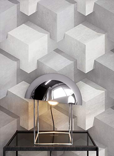NEWROOM papel pintado de piedra gris geométrico dado gráfico tejido no tejido blanco moderno concreto Bauhaus | papel pintado ladrillo | efecto piedra: ...