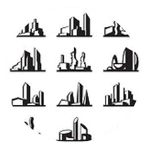 alfombrilla de ratón edificios modernos conjunto - ilustración vectorial - ronda - 20cm