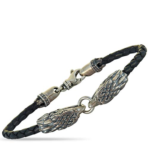 King Baby Sterling Silver and Black Leather Double Eagle Bracelet