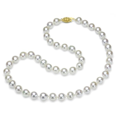 18k Yellow Gold Plated Sterling Silver 8-8.5mm White Off-Shape Akoya Cultured Pearl Necklace, 18'' by La Regis Jewelry