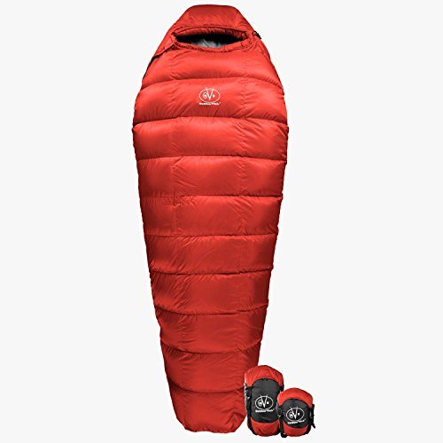 Goose Down Mummy Sleeping Bag (Outdoor Vitals Summit 30 Degree Down Ultralight Mummy Sleeping Bag with Compression Bag &)