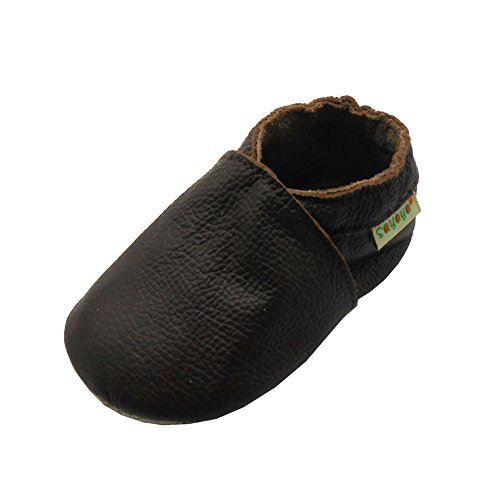 Sayoyo Baby Soft Sole Prewalkers Baby Toddler Shoes Infant Slippers (0-6 Months, Brown)