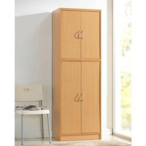 Compressed Wood Construction 4 Door Storage Kitchen Pantry, Beech by H0dedah