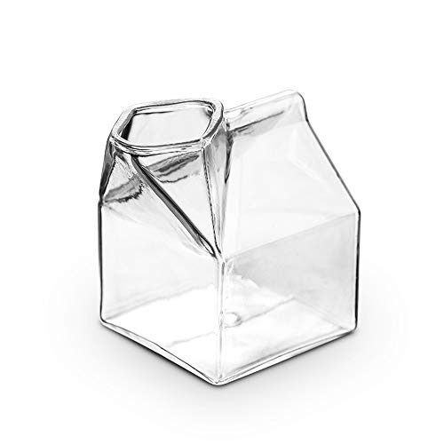 (LUCKSTAR Milk Glass Cup Square Heat Resistant Glass Mini Milk Creamer Carton Container)