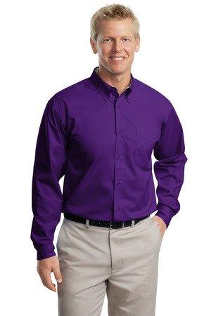 (Port Authority Long Sleeve Easy Care Shirt, Purple, 3XL)