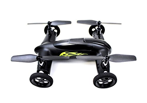 Syma X9 Flying Quadcopter Car Remote Control Car and Drone with Battery (Matte Black and Yellow Flames)