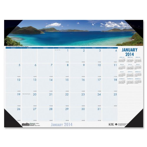 House of Doolittle Earthscapes Coastlines Compact Desk Pad Calendar 12 Months January 2014 to December 2014, 18.5 x 13 Inches, Recycled (HOD1786) -