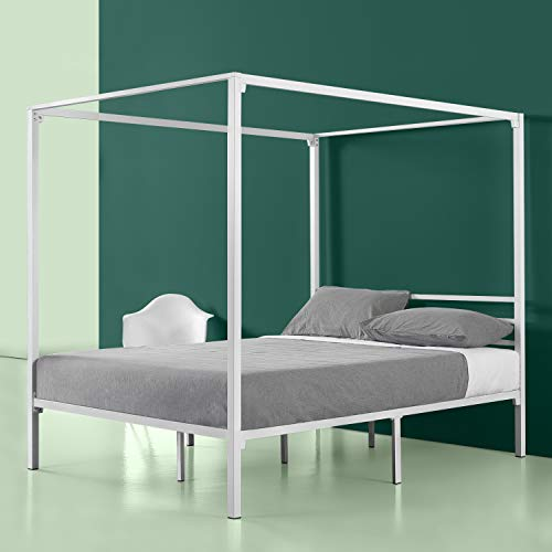 (Zinus Patricia White Metal Framed Canopy Four Poster Platform Bed Frame / Strong Steel Mattress Support / No Box Spring Needed, Queen)
