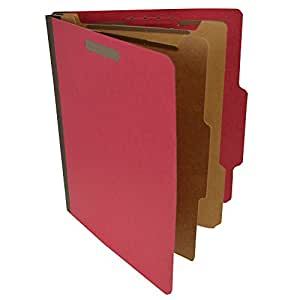 Pressboard Classification Partition Folder, 2 Dividers, 2-Inch Expansion, 2/5 Cut Tab, Ruby Red, Letter Size, Box of 15